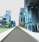 New modern visualization of city street of future — Stock Photo