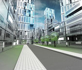 New modern visualization of city of future with sky — Stock Photo
