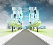 Visualization of new road to the city of future with sky — Stock Photo