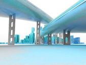 Two highways leading to modern skyscraper city render — Stock Photo