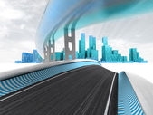 Race motorways leading to modern city with sky flare render — Stock Photo