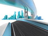 Race motorways leading to modern skyscraper city on white render — Stock Photo