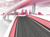 Race tracks leading to modern skyscraper city with sky sunset — Stock Photo
