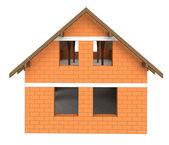 Isolated bricked house facade construction — Stock Photo