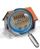 Chrome magnifying glass rentgen house construction detail — Stock Photo