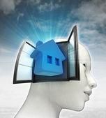 Thuis wonen afkomstig is uit of in menselijk hoofd met hemelachtergrond — Stockfoto