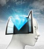 Diamant luxe afkomstig is uit of in menselijk hoofd met hemelachtergrond — Stockfoto
