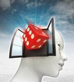 Afkomstig is uit of in menselijk hoofd met hemelachtergrond geluksdobbelstenen — Stockfoto