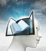 Onderwijs boek komt uit of in menselijk hoofd met hemelachtergrond — Stockfoto