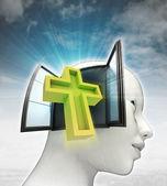 Heilige kruis religie afkomstig is uit of in menselijk hoofd met hemelachtergrond — Stockfoto