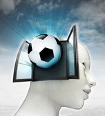Voetbal sport afkomstig uit of in menselijk hoofd met hemelachtergrond — Stockfoto
