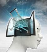 Winkelen kar station uit of in menselijk hoofd met hemelachtergrond — Stockfoto
