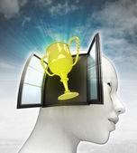 Champions cup afkomstig is uit of in menselijk hoofd met hemelachtergrond — Stockfoto