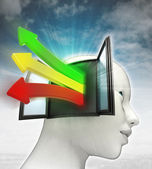 Three colored way arrows coming out of human head with sky background — Stock Photo