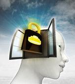 Veiligheid hangslot afkomstig is uit of in menselijk hoofd met hemelachtergrond gesloten — Stockfoto