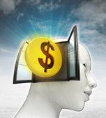 Dollar munt investeringen afkomstig is uit of in menselijk hoofd met hemelachtergrond — Stockfoto