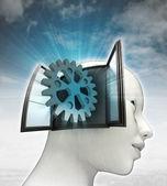 Industriële tandrad deel afkomstig is uit of in menselijk hoofd met hemelachtergrond — Stockfoto