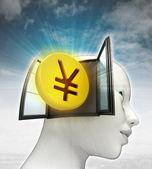 Yen munt investeringen afkomstig is uit of in menselijk hoofd met hemelachtergrond — Stockfoto