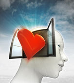 Love coming out or in human head with sky background — Stock fotografie