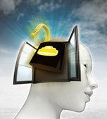 Veiligheid hangslot afkomstig is uit of in menselijk hoofd met hemelachtergrond openen — Stockfoto