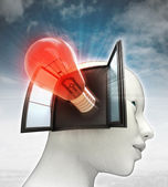 Red shining bulb invention coming out or in human head with sky background — Stock Photo