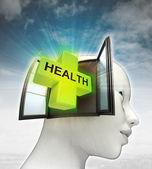Gezondheidszorg afkomstig is uit of in menselijk hoofd met hemelachtergrond — Stockfoto