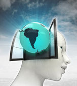 South America globe coming out or in human head with sky background — Foto de Stock
