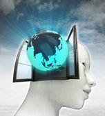Azië wereld afkomstig is uit of in menselijk hoofd met hemelachtergrond — Stockfoto