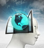 North America globe coming out or in human head with sky background — Stock Photo