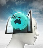 Australia globe coming out or in human head with sky background — Foto de Stock