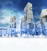 Blue frosty modern city with snowflake frame down — Stock Photo