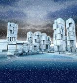 Futuristic skyscraper city at winter blizzard — Stock Photo