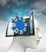 Bet poker game coming out or in human head with sky background — Stock Photo