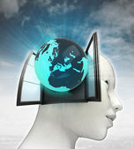 Europe globe coming out or in human head with sky background — Stock Photo