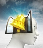 Golden bell alarm coming out or in human head with sky background — Stock Photo