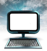Blue metallic computer screen with blue sky with background flare — Stock Photo