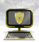 Golden metallic computer with antiviral shield with background flare — Stock Photo
