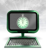 Green metallic computer with stopwatch with background flare — Stock Photo