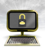 Golden metallic computer with closed padlock with background flare — Stock Photo