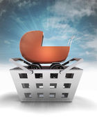 Baby carriage as trade merchandise with sky flare — Stock Photo