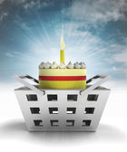 Birthday cake product as trade merchandise with sky flare — Stock Photo