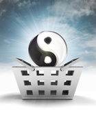 Yin yang harmony as trade merchandise with sky flare — Stock Photo