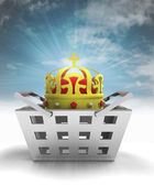 Real king of business and trade merchandise with sky flare — Stock Photo