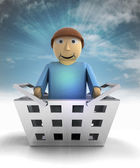 Man figure character as trade merchandise with sky flare — Stock Photo