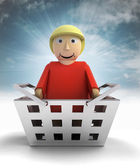 Woman figure character as trade merchandise with sky flare — Stock Photo
