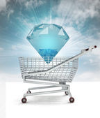 Bought of diamond cake in shopping cart with sky — Stock Photo