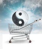 Harmony buying in shopping cart with sky — Stock Photo