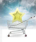 Certificate trade business star in shopping cart with sky — Stock Photo