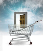 Doorway to trade business in shopping cart with sky — Stock Photo