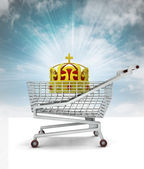 Customer royal buy in shopping cart with sky — Stock Photo